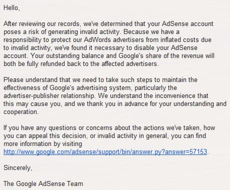 google adsense account disabled email